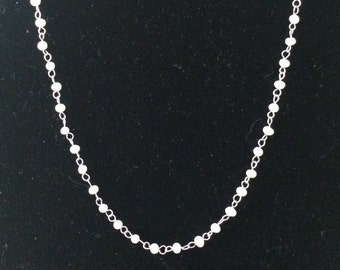 "Sterling Silver And Freshwater Pearl Necklace 16"" - 18"""