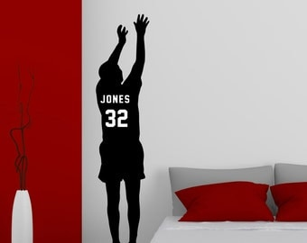 Personalized Basketball Player Vinyl Wall Decal with Jersey Name and Number Basketball Wall Decor