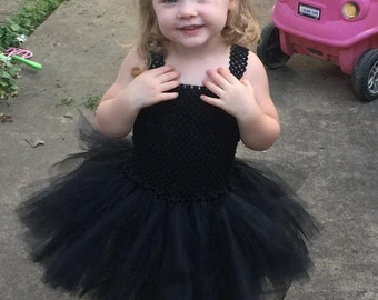 Black Cat Costume - Black Cat Toddler Costume - Black Tutu Dress - Halloween Toddler Costume - Tutu Dress including tail and clip on ears