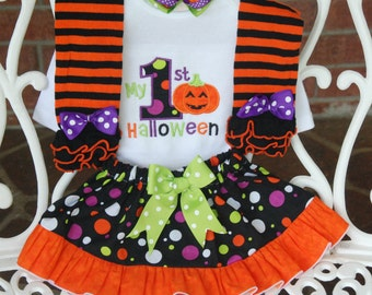 4 pc. My 1st Halloween Outfit! Baby Girl Halloween Outfit/Jack O Lantern Halloween/Halloween skirt outfit/Girls Halloween Outfit/Orange