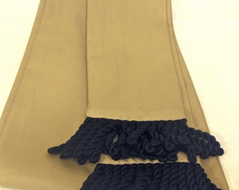 Camel/ Tan Cotton Sash w/Black Fringe for Pirate, Ren Faire, Cosplay