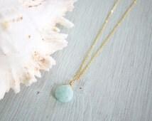 Amazonite Crystal Necklace - Amazonite Briolette Necklace - Amazonite Faceted Pear Drop Necklace - Amazonite Flat Teardrop Necklace B1