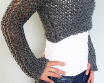 Knitting Pattern - Andra Cropped Thumb Hole Sweater/ SuperChunky Knit Soho Cropped Top
