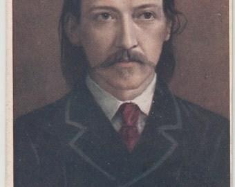 """Tuck's Antique Postcard """"Men Of Letters"""" Portrait of Robert Louis Stevenson, Unused"""