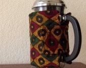 SALE: French Press Cozy - Handmade with Dark Green and Yellow African Sotiba Fabric, Wax Print Fabric, Bodum French Press Cozy