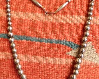 Navajo Graduated Silver Bead Necklace - [#154 - DC - Box 3]