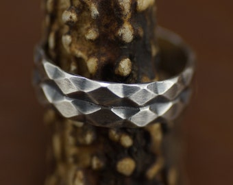 Unique Multi Rhombus Sterling Silver Ring Size 10.5