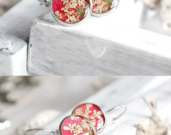 Gift for her jewelry natural earrings Ruby red earrings Mother daughter gift women Dry flowers jewelry statement earrings Anne lace