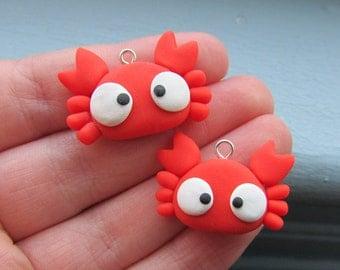 Cute Crab Polymer Clay Charm