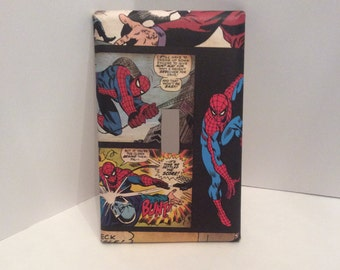 Spiderman Bedroom, Light Switch Cover, Wall Art, Marvel, Vintage Spiderman