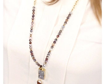 Raw Gray Agate Tassel Necklace