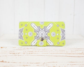 Handmade Fabric Wallet - BiFold Wallet Clutch - Vegan Wallet / Moorish in Chartreuse -- Ready to Ship