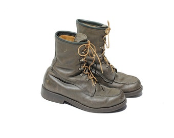 Vintage Men's Green Leather Ankle Boots / size 9.5