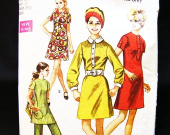 Vintage 1960s A line Dress Pattern or Tunic Top with High Waisted Pants size 12 Sewing Pattern