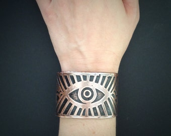 Etched Copper Cuff - Rising Eye Cuff - Alchemy - made in Austin, Tx