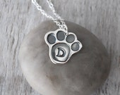 Personalized Paw Print Necklace -  Sterling Silver Pet Necklace -  Dog Necklace - Cat Necklace - Pet Initial Charm