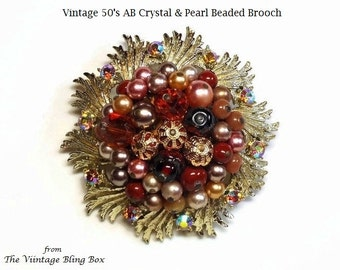 """2.5"""" Gold Flower Brooch with Beaded Shoe Button Cluster Center with AB Crystals, Creamy Pearls & Topaz Beads - Vintage 50's Costume Jewelry"""