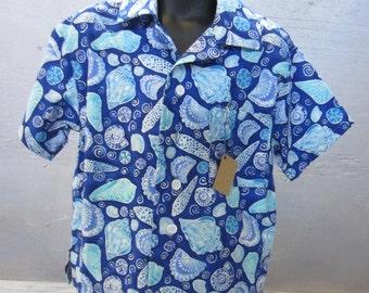 Size Medium - Toddler Boys Button Down Shirt  - Blue Seashells
