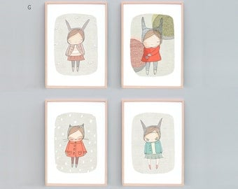 Nursery Wall Art Set, Girls Room, Girls Nursery Prints, Rabbits, Kitty Cat, Set of 4 prints, Baby Shower Gift, Set of 4 Nursery Art