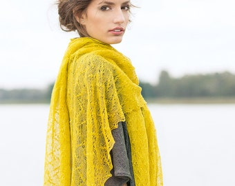 Linen Mustard Shawl Boho Scarf Lace Shawl Bridesmaid Gift Stole Misted Yellow Scarf Saffron Wrap Knitted Linen Stole Wedding Shawl