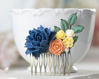Navy Blue Coral Orange Yellow Ivory Rose Daisy Peony Floral Collage Hair Comb Verdigris Patina Blue Leaf Rustic Vintage Wedding Bridal Comb