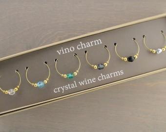 6 - Crystal Wine Charms | Gift Box | Wine Glass Charms - Unique Wine Gift - Wine Tasting Gifts - Wine Glass Markers - Wine Tags | GPC6-1