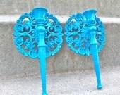 Peacock Blue TealOrnate Medallion Vintage Sconce Set