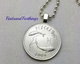 Pisces necklace - Zodiac necklace - coin necklace - 2006 - Pisces fish pendant - February March zodiac pendant - Pisces jewelry - mens gift