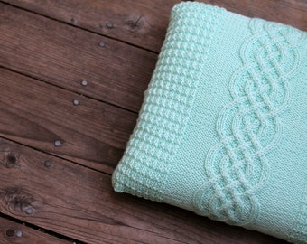 Knit cable pillow case, decorative pillow, cable knitted pillow cover, cable knit cushion in mint color