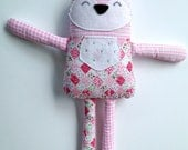 Fox plush made of pink, white and green cotton fabric, washable felt and soft cotton flannel fabric - ready to ship