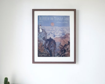 """The Rose of the Mountain Trail  - Vintage Piano Sheet Music Print - 16"""" x 20"""" Framed  FREE SHIPPING"""