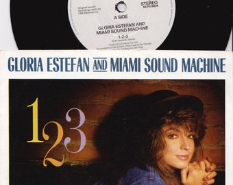 "GLORIA ESTEFAN & Miami Sound Machine 1 2 3 1987 Uk Issue 7"" 45 rpm Vinyl Single Record latin pop dance 80s music 6529587 Free Shipping"
