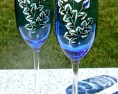 Hand Painted Blue Champagne Glasses With Beaded Wine Glass Charms, Mother's Day Gift, Painted Blue Wedding Glasses, Gifts For Her