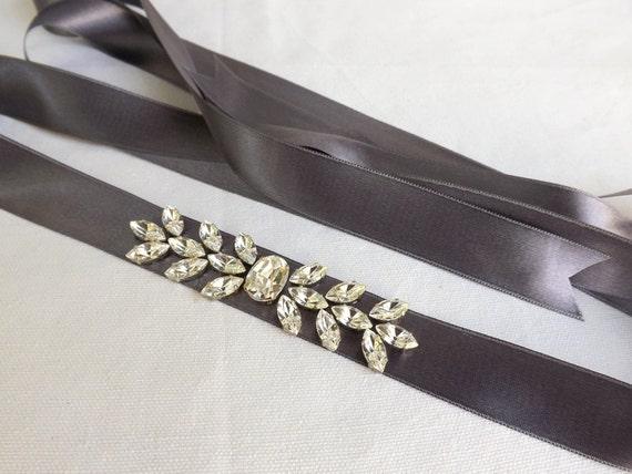 Silver sash decorated with Swarovski crystals. Bridal sash. Sparkly wedding sash belt.