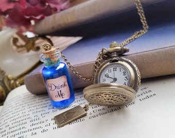 Alice in Wonderland Bottle necklace, Steampunk Pocket Watch Necklace, Drink Me Necklace, Alice Jewelry Watch, christmas gifts, watch pendant