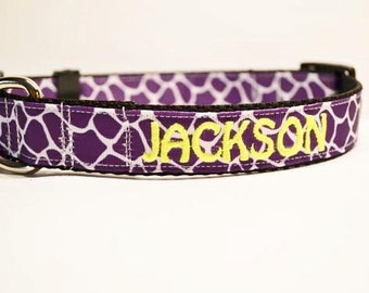 """Personalized Dog Collar- 1"""" wide - Purple Giraffe - Pets - Adjustable Dog Collar - made to order"""