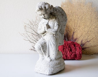 Vintage concrete angel statue cement garden statuary religious lawn ornament chippy weathered angel