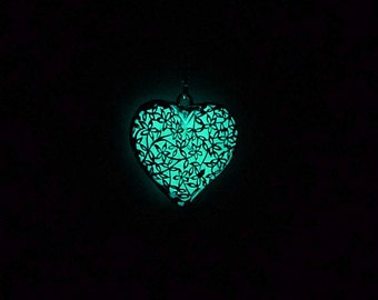 Gift for her glowing heart necklace sterling silver necklace blue glowing necklace flower necklace girlfriend gift glow in the dark jewelry
