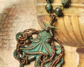 Wire Wrapped Octopus and Starfish Necklace