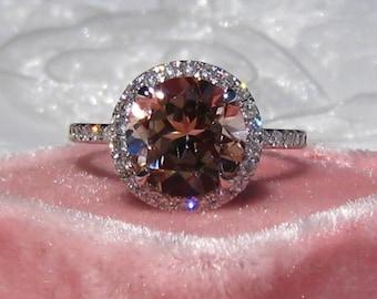 Peachy Pink Morganite in White Gold Diamond Halo Engagement Ring, Morganite Engagement Ring