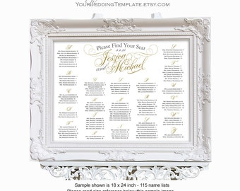 Wedding seating chart alphabetical| Printable seating chart| Elegant script| Wedding decorations| Personalized for you| Print ready PDF