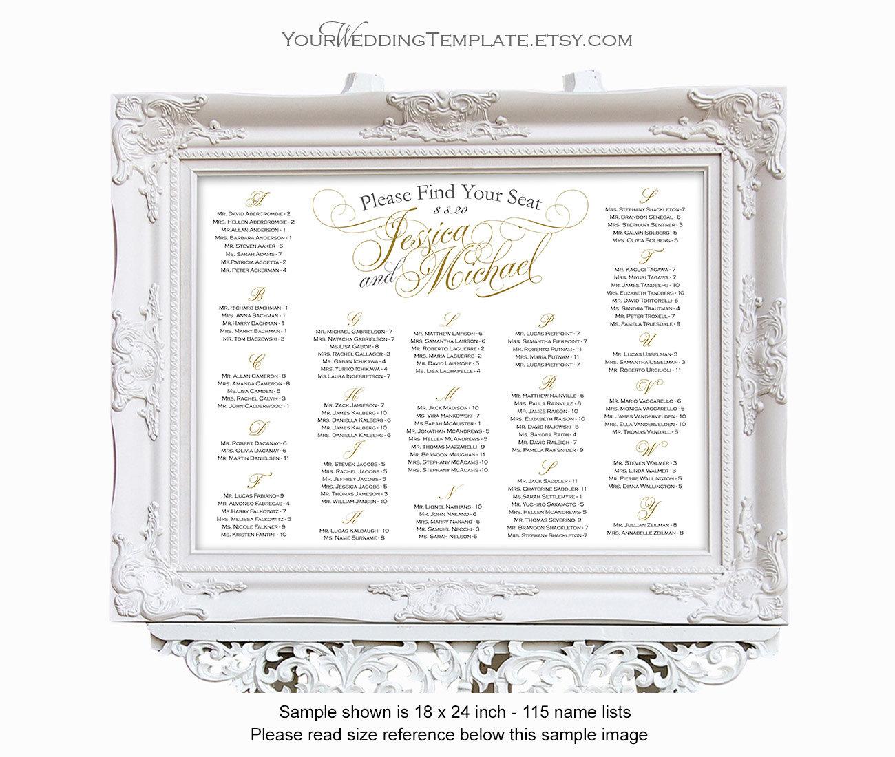wedding seating chart alphabetical printable seating chart