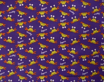 Crab Fabric, PWDW073 David Walker, Free Spirit, Beach Fabric, Yellow  & Purple, Nautical Fabric, Ocean Fabric, Crabby Cotton Yardage
