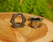 Silver Lotus plugs tunnels, brass ear gauges, tribal mandala gypsy jewelry double flare 6g 4g 2g 0g 00g 1/2 9/16 5/8 11/16 3/4 7/8 1 inch
