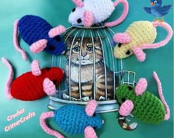 One Crochet Amigurumi Mouse, Mouse Plushie, Child's Toy Mouse, Cat Toy Mouse