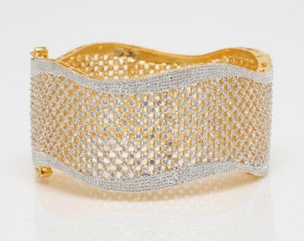 Gold Bracelet, Wedding Bracelet, Bridal Jewelry, Wedding Jewelry, Statement Bracelet, Gold Cuff Bracelet, Mena Gold Wedding Statement Cuff