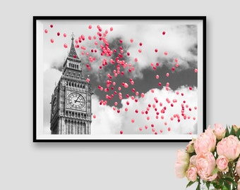London Print London Theme Party Print London Art Instant Download London Decor Wall Art London Black and white London Poster Pink Baloons