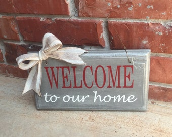 Front Porch Decor, Hanging Welcome Sign, Welcome Sign