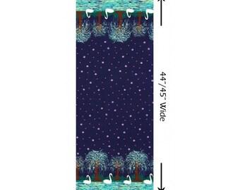 Swan Lake Border Stripe Navy Michael Miller Fabric 1 yard