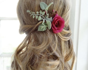 floral hair clip, raspberry bridesmaid hair clip, bridal hair clip, bridal hair piece, dark pink hair flower, silk flower hairpiece foliage
